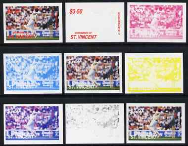 St Vincent - Grenadines 1988 Cricketers $3.50 C G Greenidge the set of 9 imperf progressive proofs comprising the 5 individual colours plus 2, 3, 4 and all 5-colour compo..., stamps on personalities, stamps on sport, stamps on cricket
