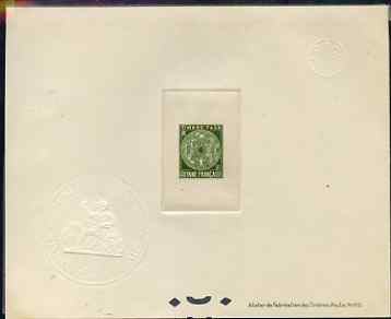French Guiana 1947 Postage Due 30c olive-green Epreuves deluxe proof sheet in issued colour with Official French Colonies impressed die stamp (from very limited printing)...