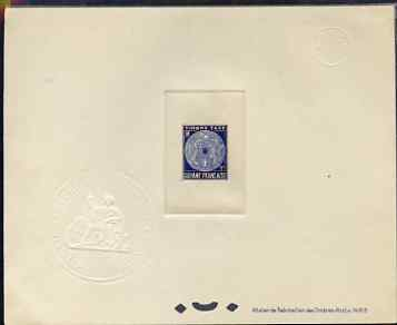 French Guiana 1947 Postage Due 1f ultramarine Epreuves deluxe proof sheet in issued colour with Official French Colonies impressed die stamp (from very limited printing) ...