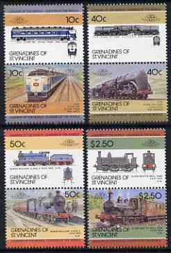 St Vincent - Grenadines 1985 Locomotives #4 (Leaders of the World) set of 8 unmounted mint SG 390-97