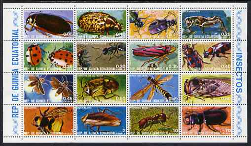 Equatorial Guinea 1978 Insects perf sheetlet containing 16 values fine cto used, Mi 1370-85