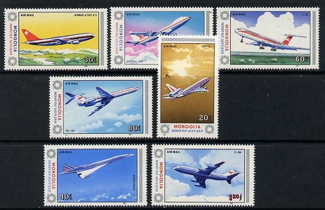 Mongolia 1984 Civil Aviation set of 7 (Concorde, etc) unmounted mint, SG 1597-1603