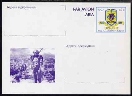 Ukraine 1997 40c postal stationery card showing soldier (with inscriptions for sender and Addressee) very fine unused