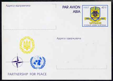 Ukraine 1997 40c postal stationery card showing United Nations logo & Partnership for Peace (with inscriptions for sender and Addressee) very fine unused