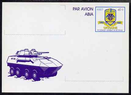 Ukraine 1997 40c postal stationery card showing Military Personnel Carrier very fine unused