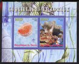 Benin 2008 Shells & Coral #1 perf sheetlet containing 2 values each with Scout Logo, unmounted mint