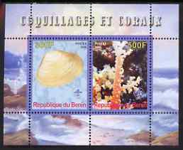 Benin 2008 Shells & Coral #2 perf sheetlet containing 2 values each with Scout Logo, unmounted mint