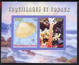 Benin 2008 Shells & Coral #2 imperf sheetlet containing 2 values each with Scout Logo, unmounted mint