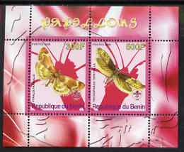Benin 2008 Butterflies #1 perf sheetlet containing 2 values each with Scout Logo, unmounted mint
