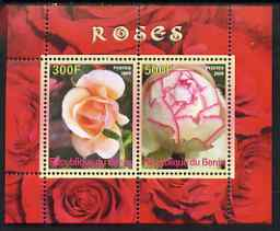 Benin 2008 Roses perf sheetlet containing 2 values, unmounted mint