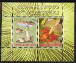 Benin 2008 Fungi & Orchids #1 perf sheetlet containing 2 values each with Scout Logo, unmounted mint