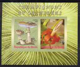 Benin 2008 Fungi & Orchids #1 imperf sheetlet containing 2 values each with Scout Logo, unmounted mint