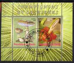 Benin 2008 Fungi & Orchids #1 perf sheetlet containing 2 values each with Scout Logo, fine cto used
