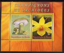 Benin 2008 Fungi & Orchids #2 perf sheetlet containing 2 values each with Scout Logo, unmounted mint