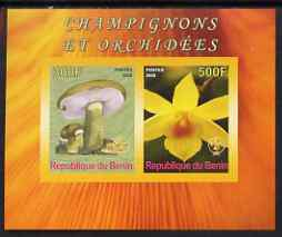 Benin 2008 Fungi & Orchids #2 imperf sheetlet containing 2 values each with Scout Logo, unmounted mint