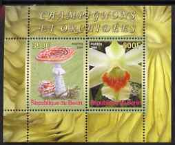 Benin 2008 Fungi & Orchids #3 perf sheetlet containing 2 values each with Scout Logo, unmounted mint