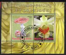 Benin 2008 Fungi & Orchids #3 perf sheetlet containing 2 values each with Scout Logo, fine cto used