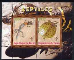 Benin 2008 Reptiles #1 perf sheetlet containing 2 values each with Scout Logo, unmounted mint
