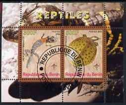 Benin 2008 Reptiles #1 perf sheetlet containing 2 values each with Scout Logo, fine cto used