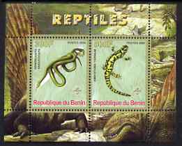 Benin 2008 Reptiles #2 perf sheetlet containing 2 values each with Scout Logo, unmounted mint
