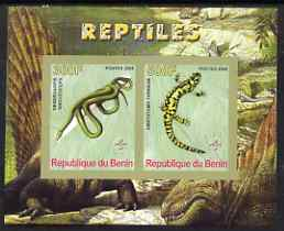 Benin 2008 Reptiles #2 imperf sheetlet containing 2 values each with Scout Logo, unmounted mint