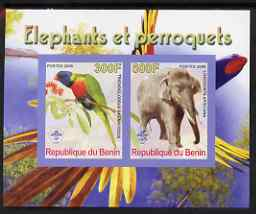 Benin 2008 Elephants & Parrots #1 imperf sheetlet containing 2 values each with Scout Logo, unmounted mint