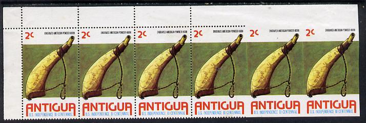 Antigua 1976 USA Bicentenary 2c (Powder Horn) horiz strip of 6 with last 2 stamps completely imperf, few wrinkles but unmounted mint