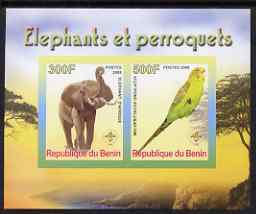 Benin 2008 Elephants & Parrots #2 imperf sheetlet containing 2 values each with Scout Logo, unmounted mint
