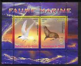 Benin 2008 Marine Fauna #1 perf sheetlet containing 2 values each with Scout Logo, unmounted mint