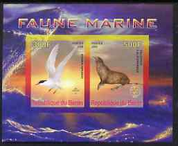 Benin 2008 Marine Fauna #1 imperf sheetlet containing 2 values each with Scout Logo, unmounted mint