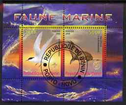 Benin 2008 Marine Fauna #1 perf sheetlet containing 2 values each with Scout Logo, fine cto used