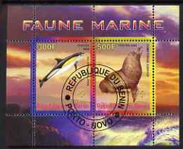 Benin 2008 Marine Fauna #2 perf sheetlet containing 2 values each with Scout Logo, fine cto used