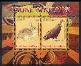 Benin 2008 African Fauna #1 perf sheetlet containing 2 values each with Scout Logo, unmounted mint