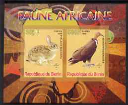 Benin 2008 African Fauna #1 imperf sheetlet containing 2 values each with Scout Logo, unmounted mint