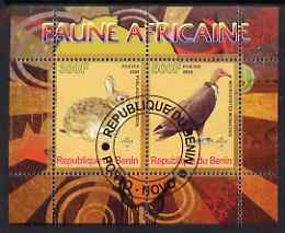 Benin 2008 African Fauna #1 perf sheetlet containing 2 values each with Scout Logo, fine cto used