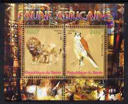 Benin 2008 African Fauna #2 perf sheetlet containing 2 values each with Scout Logo, unmounted mint, stamps on animals, stamps on cats, stamps on lions, stamps on birds, stamps on falcons, stamps on  birds of prey, stamps on scouts