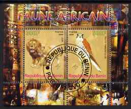 Benin 2008 African Fauna #2 perf sheetlet containing 2 values each with Scout Logo, fine cto used