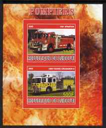 Djibouti 2008 Fire Engines #1 imperf sheetlet containing 2 values, unmounted mint