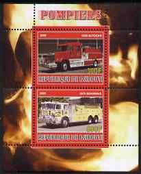 Djibouti 2008 Fire Engines #2 perf sheetlet containing 2 values, unmounted mint