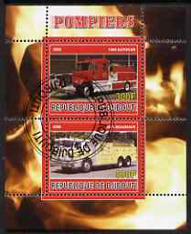 Djibouti 2008 Fire Engines #2 perf sheetlet containing 2 values, fine cto used