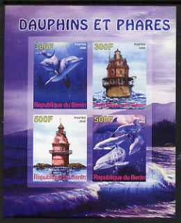 Benin 2008 Dolphins & Lighthouses imperf sheetlet containing 4 values, unmounted mint