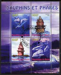 Benin 2008 Dolphins & Lighthouses perf sheetlet containing 4 values, fine cto used