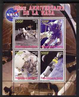 Benin 2008 NASA 50th Anniversary #1 perf sheetlet containing 4 values, unmounted mint