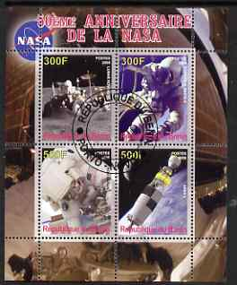 Benin 2008 NASA 50th Anniversary #1 perf sheetlet containing 4 values, fine cto used