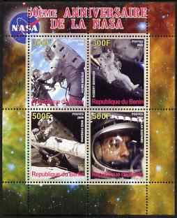Benin 2008 NASA 50th Anniversary #2 perf sheetlet containing 4 values, unmounted mint