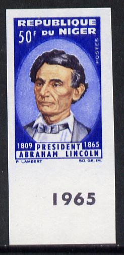 Niger Republic 1965 Lincoln Death Anniversary 50f imperf marginal single unmounted mint