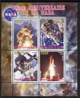Benin 2008 NASA 50th Anniversary #3 perf sheetlet containing 4 values, unmounted mint