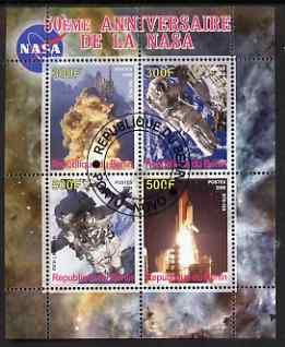 Benin 2008 NASA 50th Anniversary #3 perf sheetlet containing 4 values, fine cto used