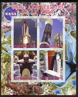 Benin 2008 NASA 50th Anniversary #4 imperf sheetlet containing 4 values, unmounted mint