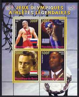 Benin 2008 Famous Olympic Athletes #1 perf sheetlet containing 4 values, unmounted mint